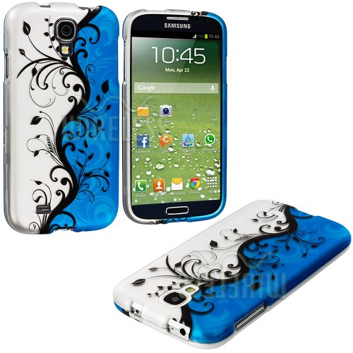 """Mylife (Tm) Black + Blue Vines And Swirls Series (2 Piece Snap On) Hardshell Plates Case For The Samsung Galaxy S4 """"Fits Models: I9500, I9505, Sph-L720, Galaxy S Iv, Sgh-I337, Sch-I545, Sgh-M919, Sch-R970 And Galaxy S4 Lte-A Touch Phone"""" (Clip Fitted Fron"""