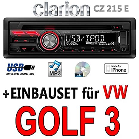 VW golf 3-clarion cZ215E-autoradio mP3/uSB avec kit de montage