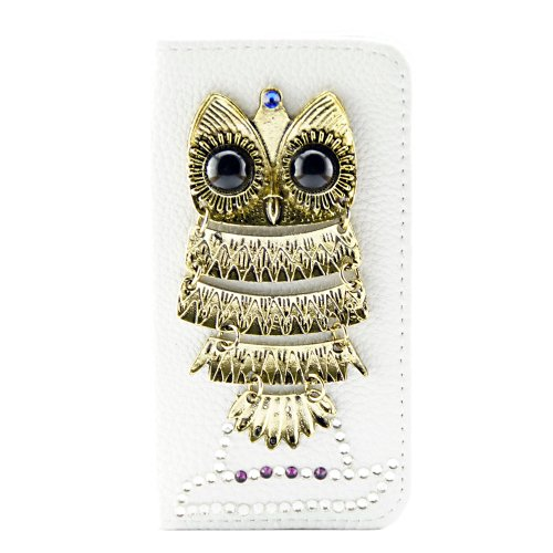 White 3D Hand Made Bling Diamante Diamond Leather Cover Front & Back Fits Iphone 4 4G 4S Leather Case Owl With Free Lcd Film Screen Protector & Touch Pen