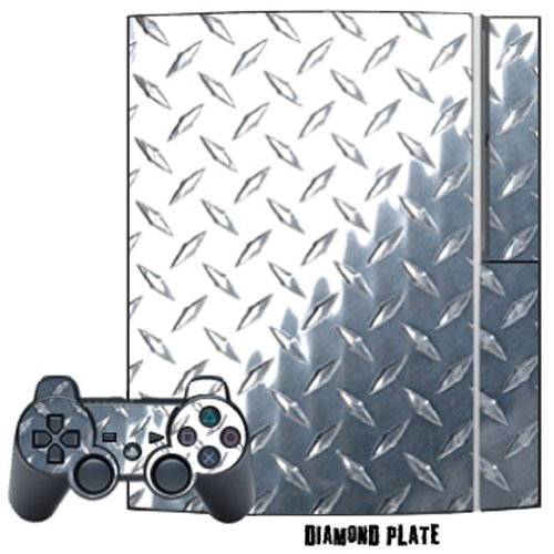 Mightyskins Protective Skin Decal Cover Sticker for Playstation 3 Console + two PS3 Controllers - Diamond Plate