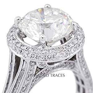 8.12 Carat Round Natural Diamond AGI Certified F-IF Excellent Cut 18k White Gold 4-Prong Setting Split Shank Engagement Ring