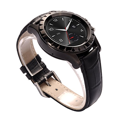 JideTech® Bluetooth Wristband Smart Watch With Leather/Steel Watchband Touch Screen 3MP Camera IP67 Waterproof, Build-in Microphone and Speaker Sync Call and Messages (Black+Leather)