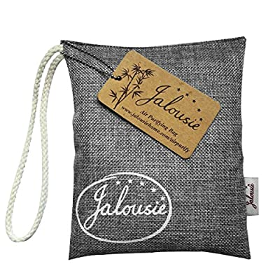 Jalousie 200g Air purify Bamboo Charcoal Bag Odor Removal Odor Absorbing for Kitchen Pet Car Closet Basement Prevent Mold Mildew Dehumidify Remove Excess Moisture -- Hook Included for Hanging
