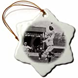 3dRose orn_16264_1 Vintage Detroit Tigers Making The Catch Snowflake Ornament, Porcelain, 3-Inch, Black/White