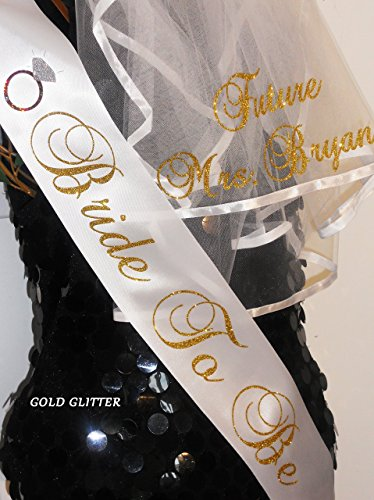 Bride To Be Veil and Sash Set with SPARKLING lettering for only $48. This is a $55.00 VALUE (If Purchased separately) PERSONALIZED Bachelorette Party Set - Hair Veil & Sash (Custom Bride To Be Sash compare prices)