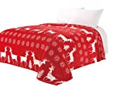 Euphoria Super Soft Fleece Prints Throw Blanket for Sofa Couch Lounge Bed Bedding Red Reindeer Design Double Size 180 x 200cm