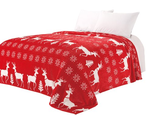 """Euphoria Brand Super Soft Fleece Prints Throw Blanket For Sofa Couch Lounge Bed Bedding Red Reindeer Snowflake King 90"""" X 80"""" front-427952"""