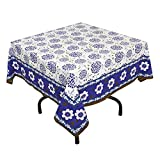 "Handmade Indian 54"" Square Tablecloth - Blue And White Floral Cotton"
