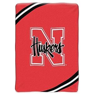 "NCAA Nebraska Cornhuskers 60-Inch-by-80-Inch Raschel Plush Blanket ""Force"" Design"