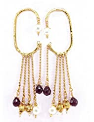 Aria Party Wear Purple Pearl Gold Plated Dangler Cuff Earring P28