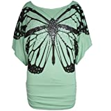 Womens Off Shoulder Ladies Celeb Print Sequin Butterfly Batwing Side Ruched Top