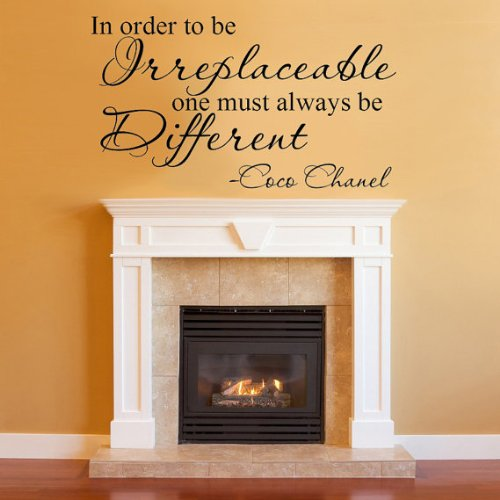 Irreplaceable One Must Always Be Different Coco Chanel Quote Vinyl