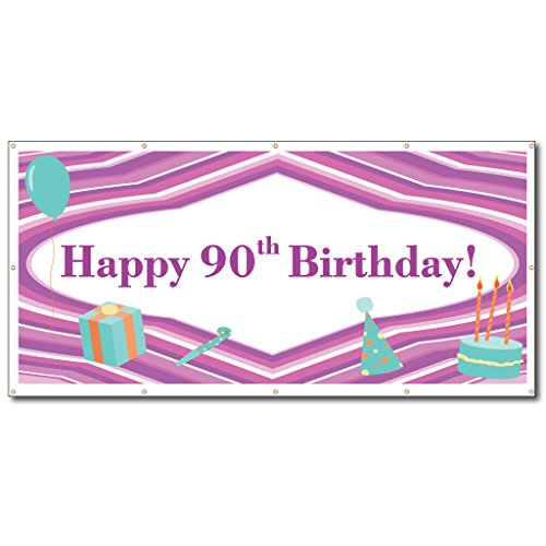 90 Cascade Centerpiece Party Accessory Happy 90th Birthday Purple Lines Teal Banner