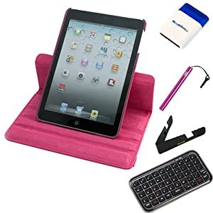 """Evecase® 5-Items Essential Accessories Bundle kit for Apple iPad Mini 7.9inch / 7.9"""" Latest Generation 4G LTE Tablet-- Pink Rotating Stand Leather Case included"""