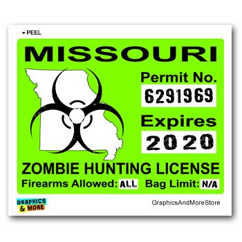 Missouri Mo Zombie Hunting License Permit Green Biohazard
