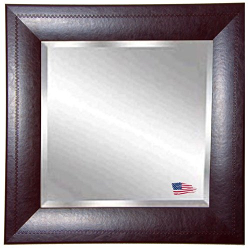 American Made Rayne Stitched Espresso Leather Beveled Wall Mirror, 35.75 X 35.75 front-196682