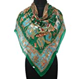 Iba Green Scarf Animal Print Square Wrap Women Neck Pure Silk Scarves Stole Hijab New SIZE-40