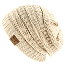 Unisex Winter Chunky Soft Stretch Cable Knit Slouch Beanie Skully Hat Lt Beige