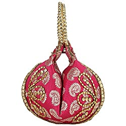 Bling It On Traditional Brocade Women's Potli Bag (Pink)