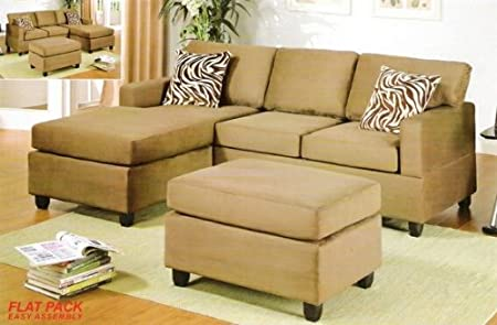 3 pc Saddle Microfiber sectional sofa with reversible chaise with Free pillows and ottoman