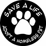 Imagine This 4-3/4-Inch by 4-3/4-Inch Car Magnet Social Issues Circle, Adopt a Homeless Pet, Black