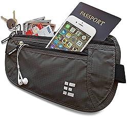 Zero Grid Money Belt w/RFID Blocking 2 in 1 Travel Wallet & Passport Holder