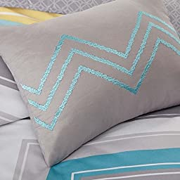 4 Piece Twin XL Zig Zag Chevron Comforter Set for Teenage Girls or Adults, Turquoise Yellow Gray Blue White Aqua Grey Chic Bright Vibrant Colorful Design, Medallion Decorative Pillows
