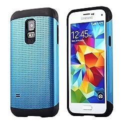 AnoKe? Armor Galaxy S5 Mini Armor dual layer bumper case TPU PC hybrid protective case for Samsung Galaxy S5 Mini SM-G800 S5 Mini (Armor Deep Blue)
