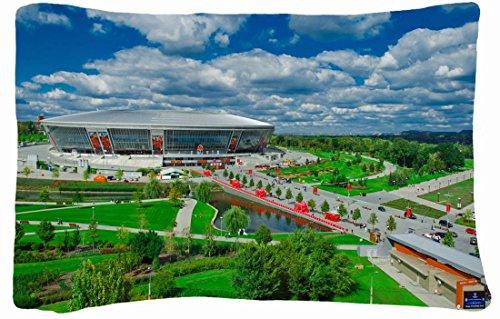 Microfiber Peach Queen Size Decorative Pillowcase -City Donbass Arena Miner Stadium Park Football front-822778