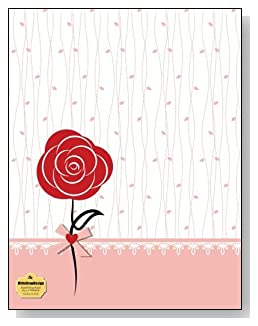 Red Rose On Pink Notebook - A single red rose and a pink trim against a simple background creates a beautiful cover for this blank and college ruled notebook with blank pages on the left and lined pages on the right.