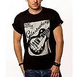 Vintage Musik T-Shirt mit Gitarre GLASTONBURY schwarz Herren S-XXXL