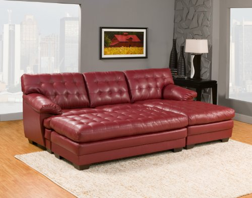 Homelegance 9739red channel tufted 2 piece sectional sofa for Homelegance 2 piece sectional sofa