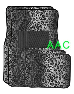 A Set of 4 Universal Fit Animal Print Carpet Floor Mats for Cars / Truck – Snow Leopard