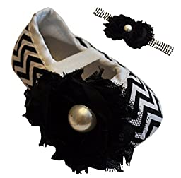 Little Royals Baby Infant Shoes Girl Shoes with Baby Headbands Black Girl Shoes for Babies Infant Baby Girl Shoes Chevron Size 3-6 Month BUY 1 GET 1 FREE