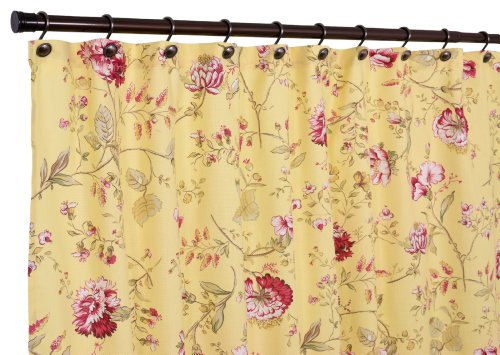 Ellis Curtain Coventry Medium Scale Floral Shower Curtain, Yellow
