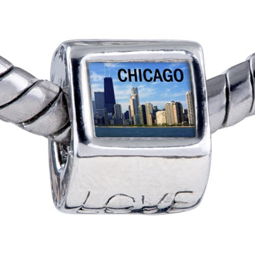 Pugster Bead Chicago Photo Love European Charm Bead Fits Pandora Bracelet