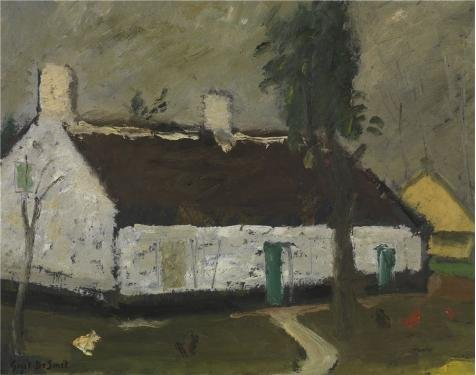 Oil Painting 'Gustave De Smet - White Farm House' Printing On Perfect Effect Canvas , 12x15 Inch / 30x39 Cm ,the Best Laundry Room Gallery Art And Home Artwork And Gifts Is This Beautiful Art Decorative Prints On Canvas (Ottomans On Wheels compare prices)