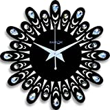 Random Wooden Jewel Floral 12 Inches Black Wall Clock(30x30)Cm