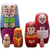 Flada Cute Nesting Dolls Russian Matryoshka Wooden Pulling The Radish Toy A Set Of 6 Pieces