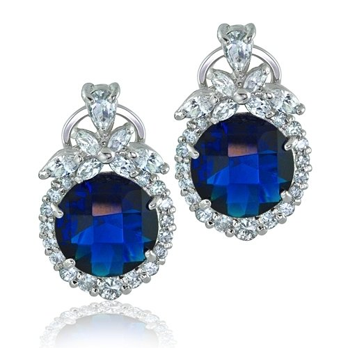 Bling Jewelry Silver-Plated Round Faceted CZ Blue Sapphire Color Omega Clip Earrings