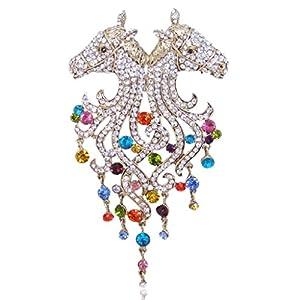 Generisches österreichisches Kristall Modern Elegant Doppel Pferd Kopf Brosche Modesschmuck bunt Antique-Gold-Ton N02643-2