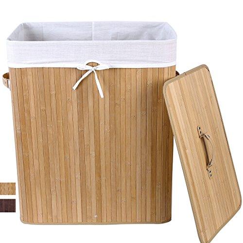 songmics gro 100l bambus faltbar w schek rbe w schebox. Black Bedroom Furniture Sets. Home Design Ideas
