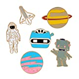 BAMONA Cute Cartoon Pins Lapel Badge Brooches for Women Girls Children Clothing Bag Decor (6pcs--Astronaut Planet)