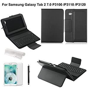Foxnovo 4-in-1 Wireless Bluetooth Keyboard Flip Leather Case Cover with Stand Screen Protector stylus pen for Samsung Galaxy Tab 2 7.0 P3100 /P3110 /P3120 (Black)
