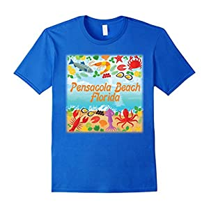 Men's Pensacola Beach Florida Beach Gulf Shrimp Paradise Shirt Small Royal Blue