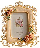 Giftgarden Picture Frames - Light Pink Rose Flower Carving Photo Frames 4x6 inch with Classic Edging Pattern Design