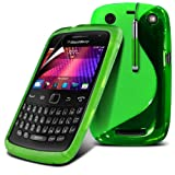 (Green) Blackberry Curve 9360 Rubber Handle Grip Gel Case S line Design Cover Pouch Skin, Retractable Capacative Touch Screen Stylus Pen & LCD Scratch Proof Screen Protector By Fone-Case