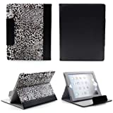 NetsPower Leopard Print PU Leather Folio Flip Smart Cover Case Stand with Credit Card Slot Auto Sleep Wake up Function for Apple iPad 2 3 4 with Free Screen Protector Film + Stylus Touch Pen - Black