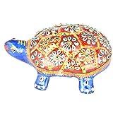 Rajgharana Handicrafts Multi Color Metal Meenakari Delightful Tortoise - (10 Cm X 7 Cm)