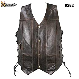 Xelement B282 Mens Retro 10 Pocket Distrress Brown Buffalo Leather Vest - X-Large